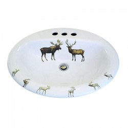 Deer and Moose Painted Drop-In Sink