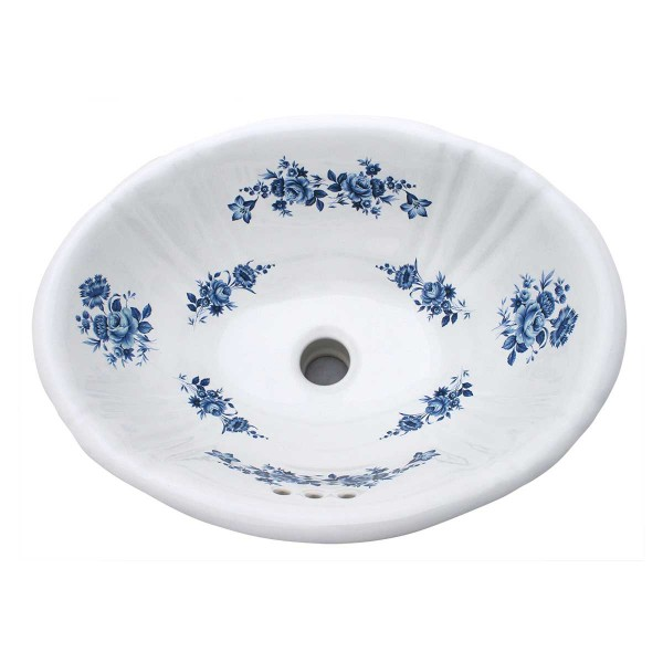Blue Roses Painted Sink on Sale