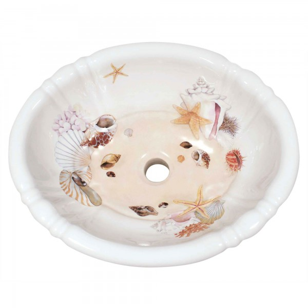 Colorful Sea Shells Fluted Drop-in Sink