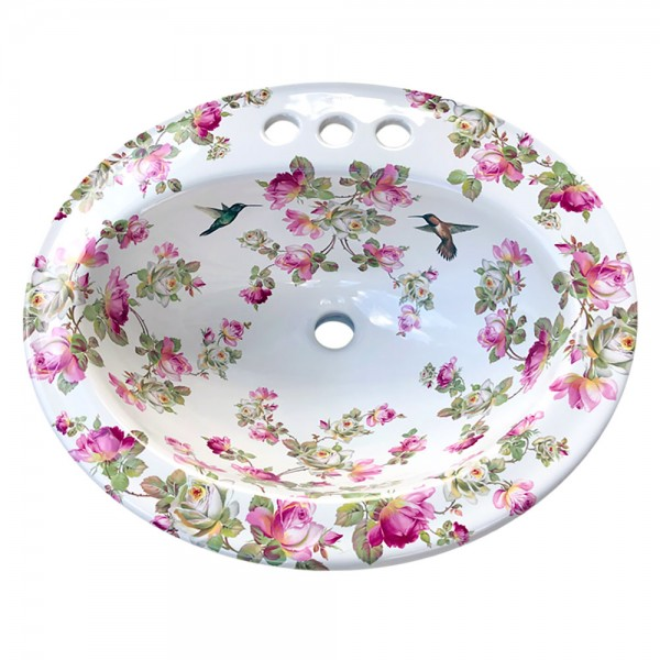 Heirloom Roses & Hummingbirds Painted Sink