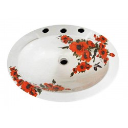 Oriental Poppies Drop-in Painted Sink