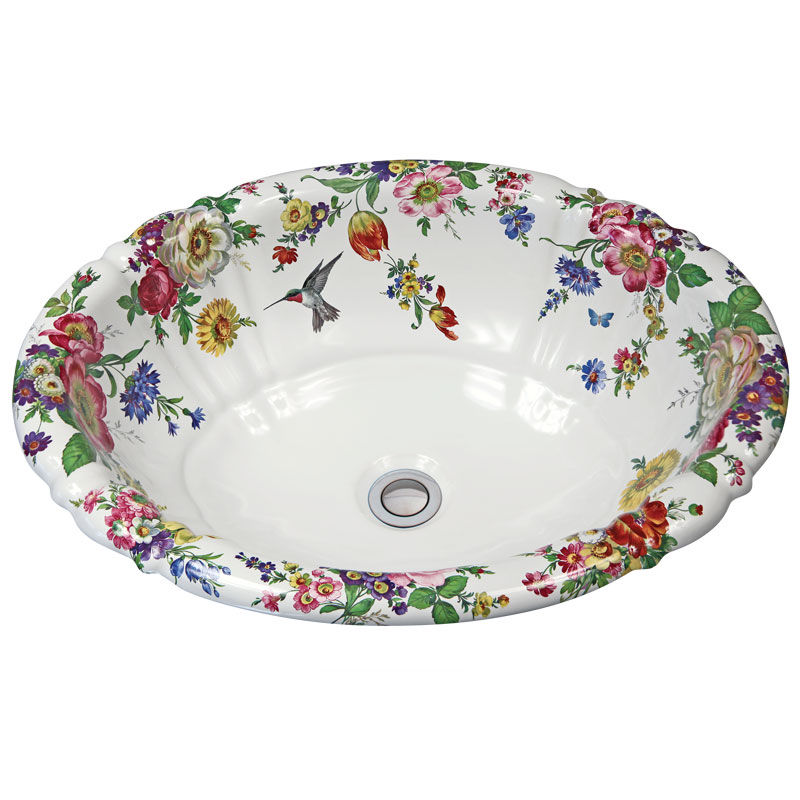 painted bathroom sinks scented garden and gray hummingbird painted sink 13904