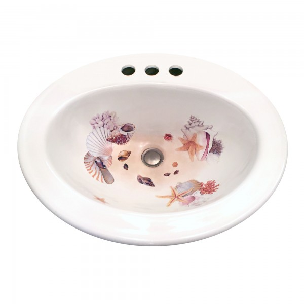 Seashell Pedestal Sink : Sea Shells Painted Drop-in Sink