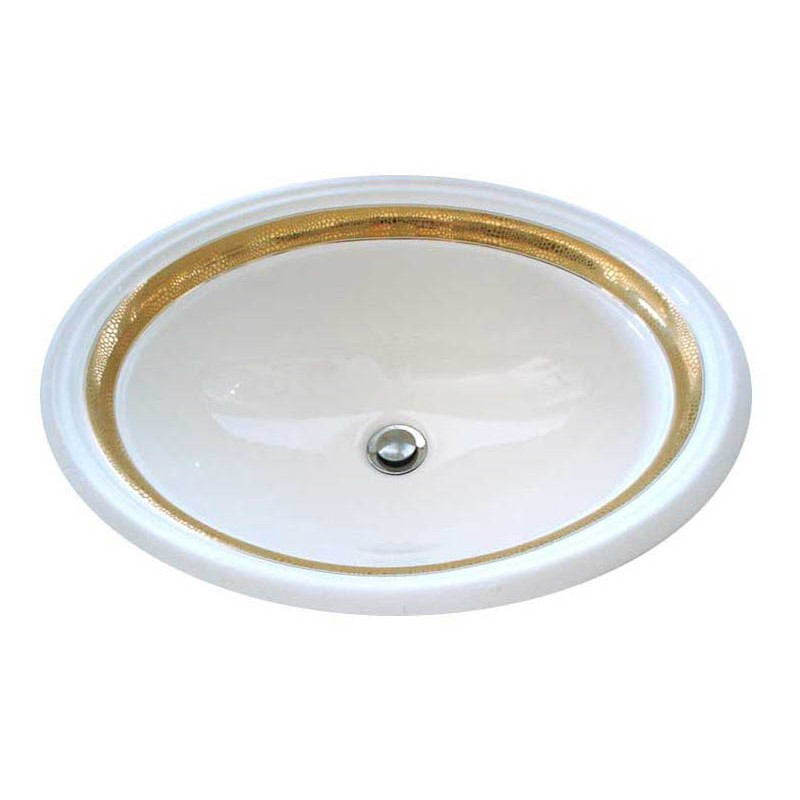 Matte And Metallic Gold Border Painted Sink