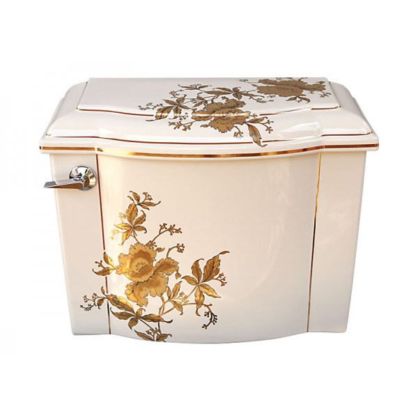 Gold Orchids Painted Toilet