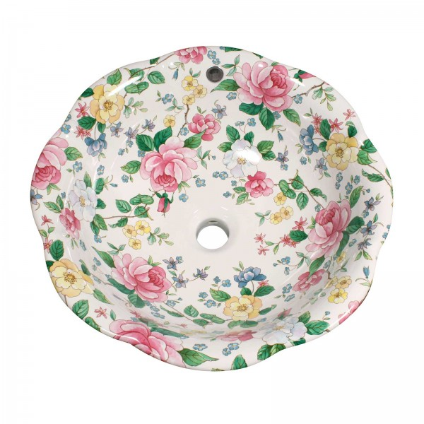 Chintz Roses Painted Vessel