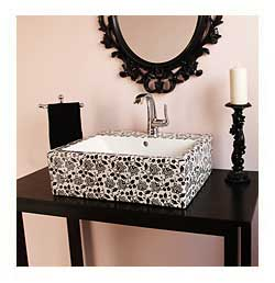 black and white chintz painted vessel sink in pink and black bathroom