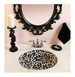 Pale Pink and Black Powder Room with black and white floral hand painted sink