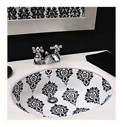 black and white brocade painted sink in guest bathroom
