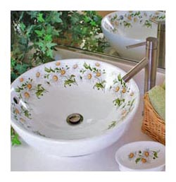 daisy design painted vessel sink in powder room