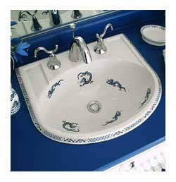 Oriental blue dragons hand painted sink in blue and white bathroom
