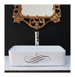 elegant swirl gold hand painted vessel sink in black guest bath with ornate gold mirror
