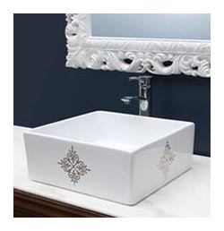 fancy emblem hand painted vessel sink in cool navy blue powder room