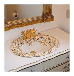 Florentine design hand painted sink in dresser in white powder room