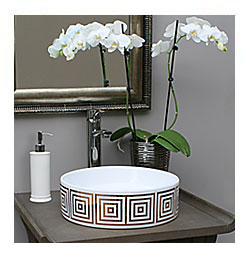 sophisticated gray powder room with gold hand painted vessel sink