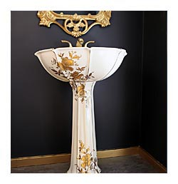 Gold Orchids Custom Pedestal Gold Mirror Black Bathroom