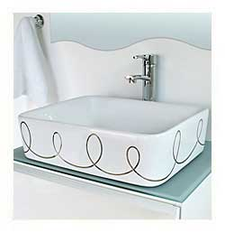 Silver Loose Loops design hand painted on a white vessel sink in spa bath