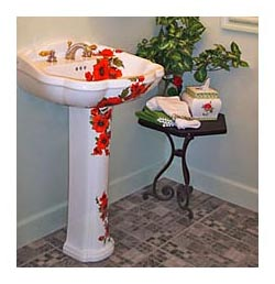 oriental poppies hand painted pedestal sink in powder room