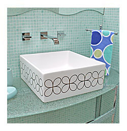 platinum cloverleaf design painted vessel sink in blue mosaic powder room