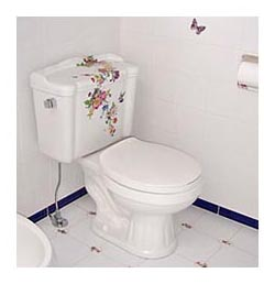 Scented garden hand painted colorful floral toilet in blue and white bathroom