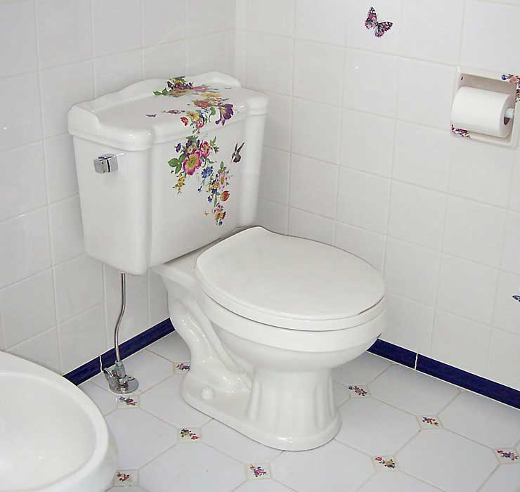 Hand Painted Floral Toilet in Blue Bathroom