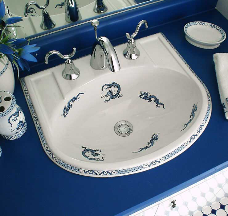 Blue Bathroom with Dragon Painted Bathroom Sink