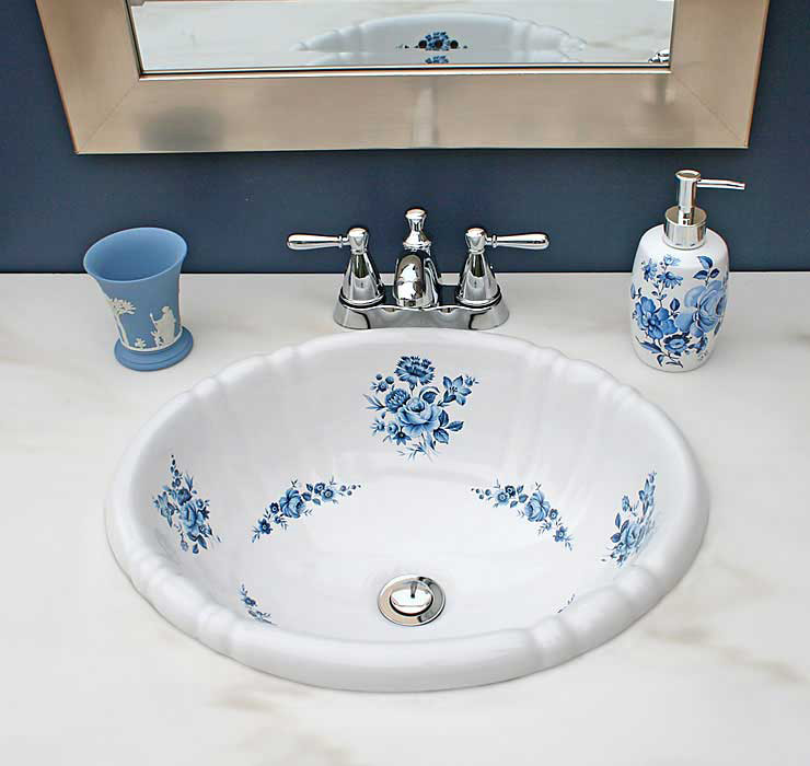 Blue Bathroom With Blue Roses Painted Drop-in Sink
