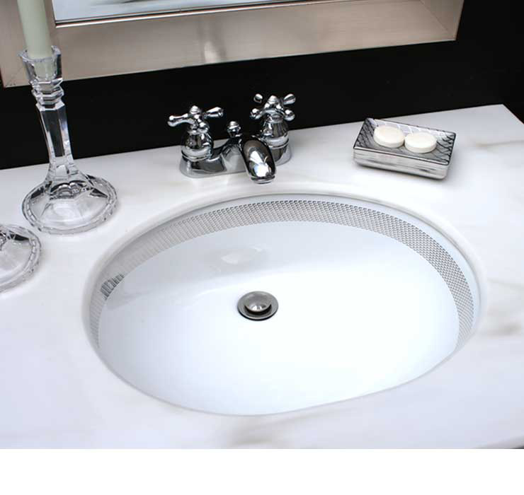 Black Powder Room with Silver Border Painted Sink