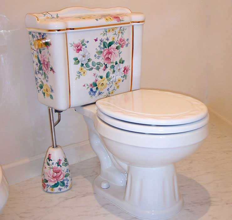 Chintz Floral Painted Toilet in a White Bathroom