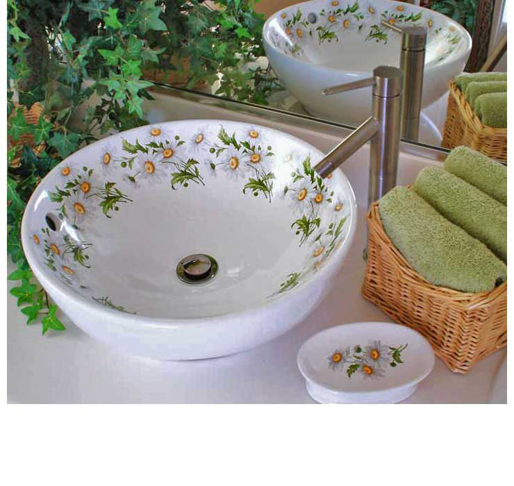 Daisy Painted Vessel sink in powder room
