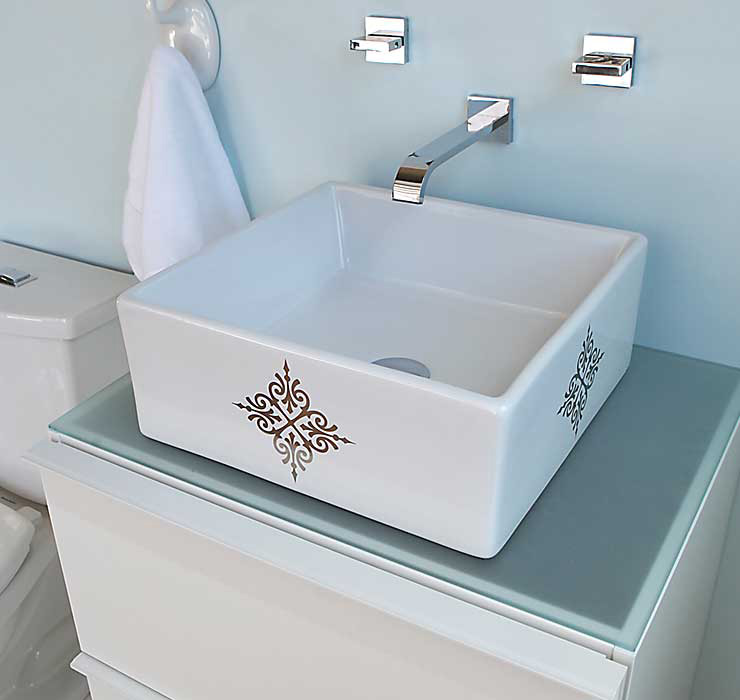 Blue Spa Style Bathroom with Fancy Emblem Painted Sink