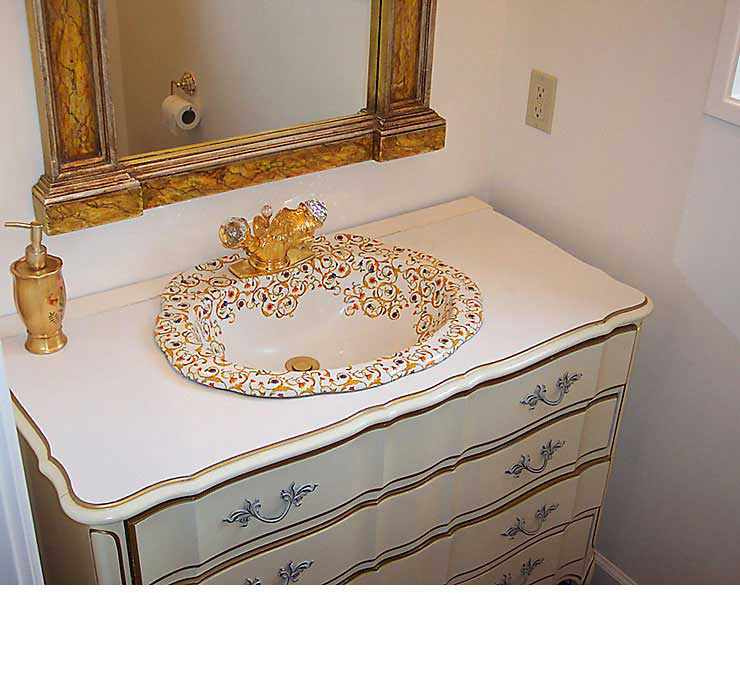 Florentine Design Painted Sink in Bathroom