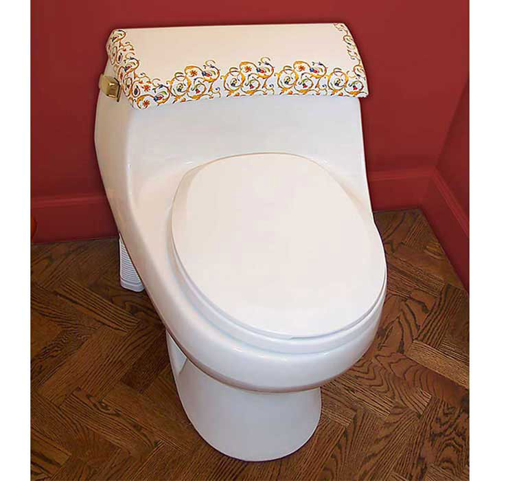 Florentine Painted Toilet in Red Bathroom