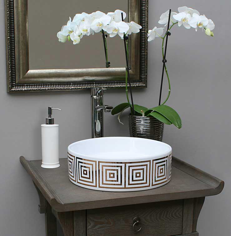 Gray Bathroom with Gold Big Squares Painted Sink