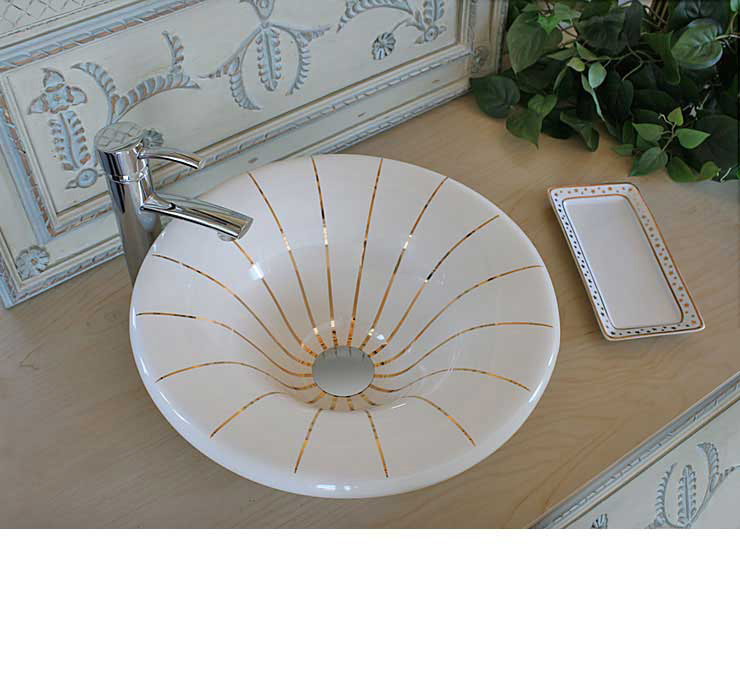 Gold Lines Painted Vessel Sink in Powder Room