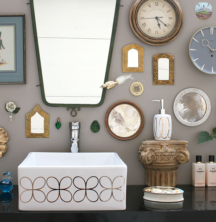 Gray Powder Room with Cloverleaf Painted Vessel Sink