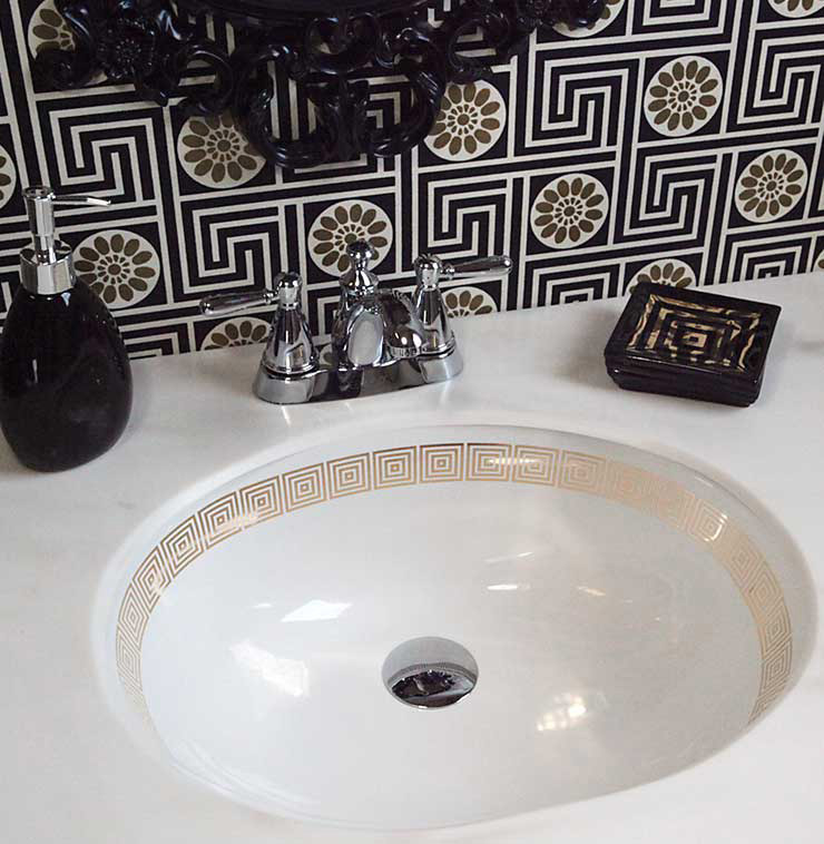 Gold Squares Border painted sink in black and Gold Bathroom
