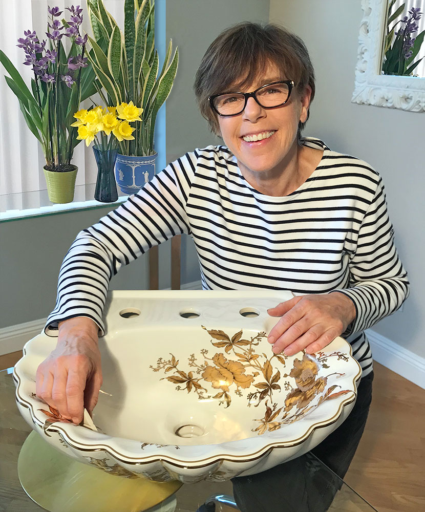 Lynne Sands with the Gold Orchids Pedestal Sink Top.