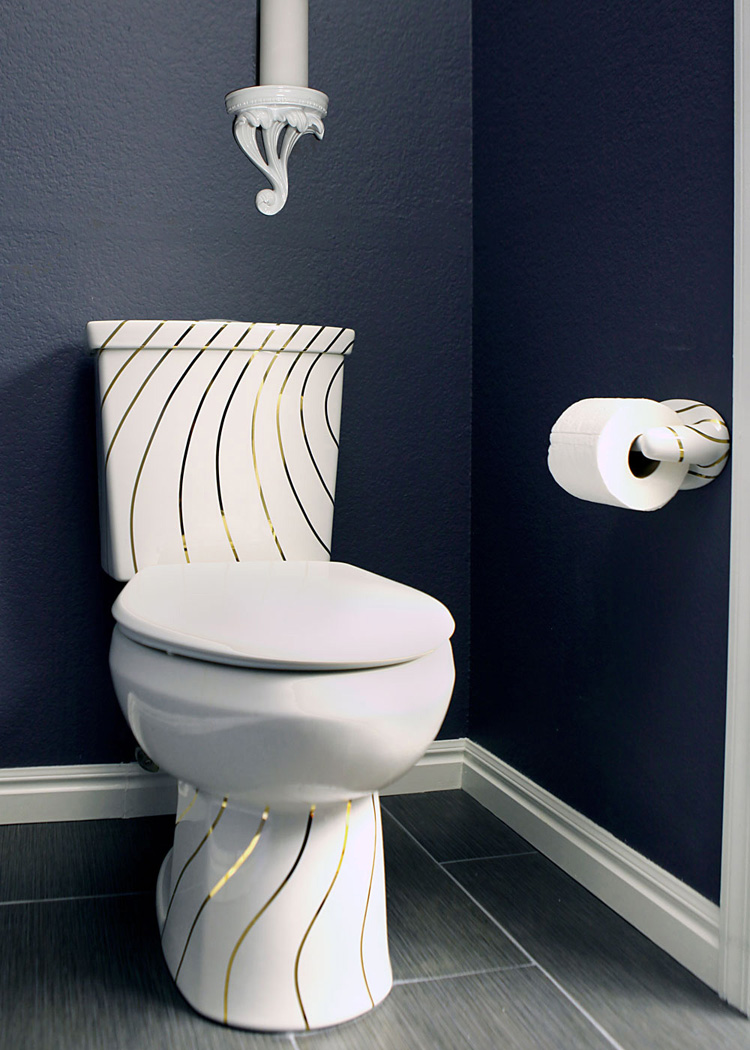 Navy blue powder room with gold swirling lines custom painted toilet for Navy blue and gold bathroom accessories