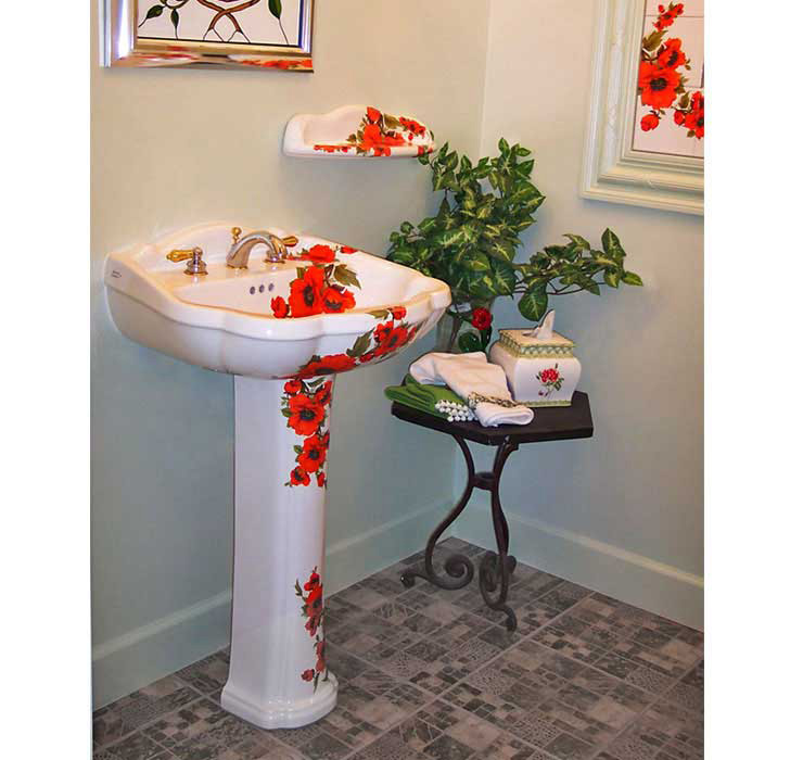 Oriental Poppies Painted Pedestal Bathroom