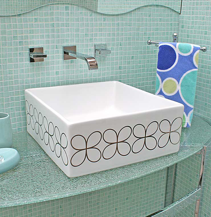 Blue Mosaic Bathroom with Cloverleaf Painted Sink
