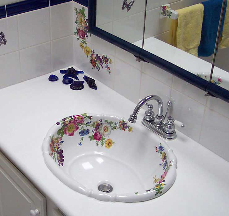 Scented Garden Drop-in Sink in White and Blue Bathroom