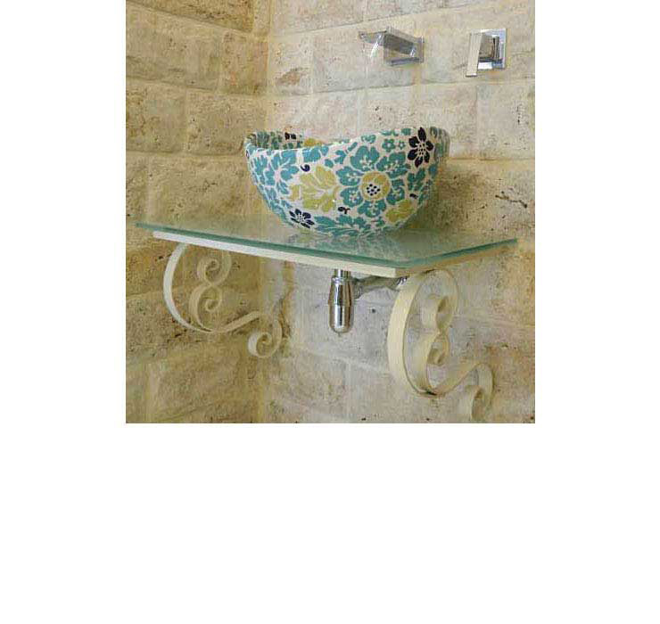 custom vessel sink painted with turquoise floral