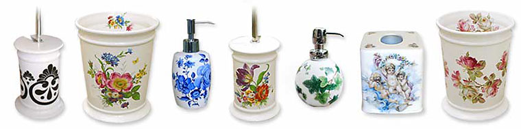 Hand Painted Bathroom Accessories by Decorated Bathroom