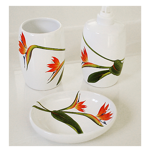 Bird of Paradise hand painted bathroom cup, soap dispenser and soap dish.