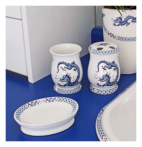 Blue riental Dragon Porcelain Bath Stuff
