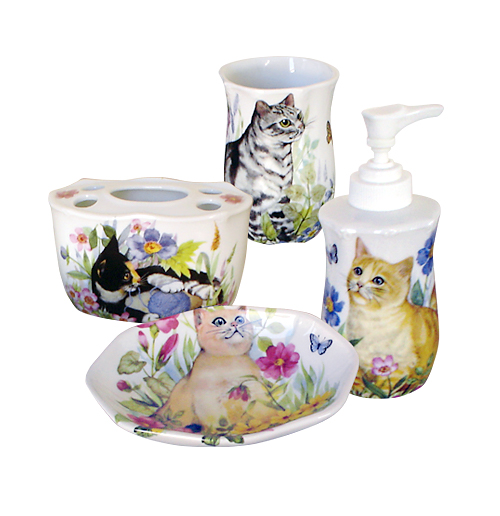 Cats In The Garden Bathroom Accessory Set