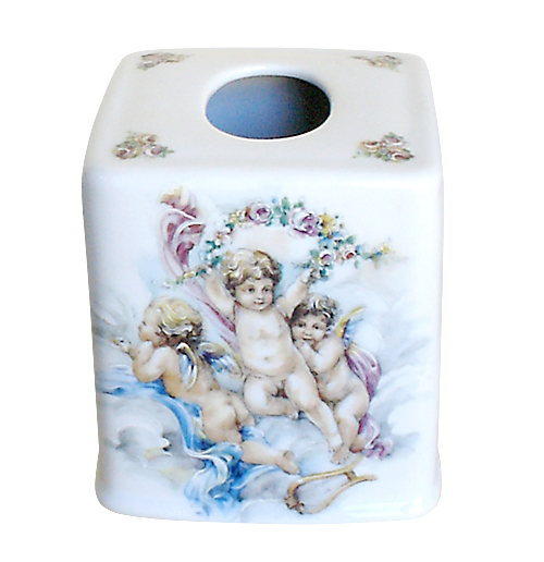 Cherubs Porcelain Tissue Box Cover