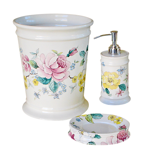 Chintz Garden Pink Roses Bathroom Wastebasket, soap dispenser and soap dish