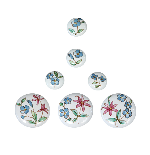 Chintz hand painted porcelain drawer knobs